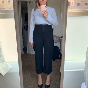 Pants - High waisted wide leg cropped straight pant